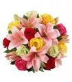 1 Ramo, 12 Rosas Surtidas, 9 Liliums Rosados